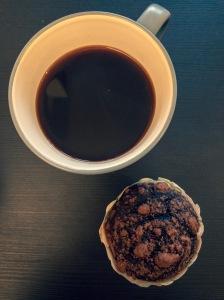 Coffee and vegan chocolate muffin